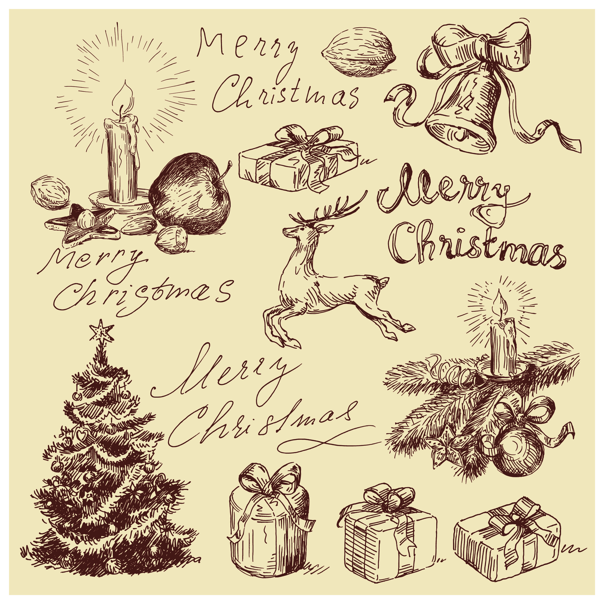 10 Free Vintage Christmas Vector Designs Images - Merry Christmas, Vintage Ch...