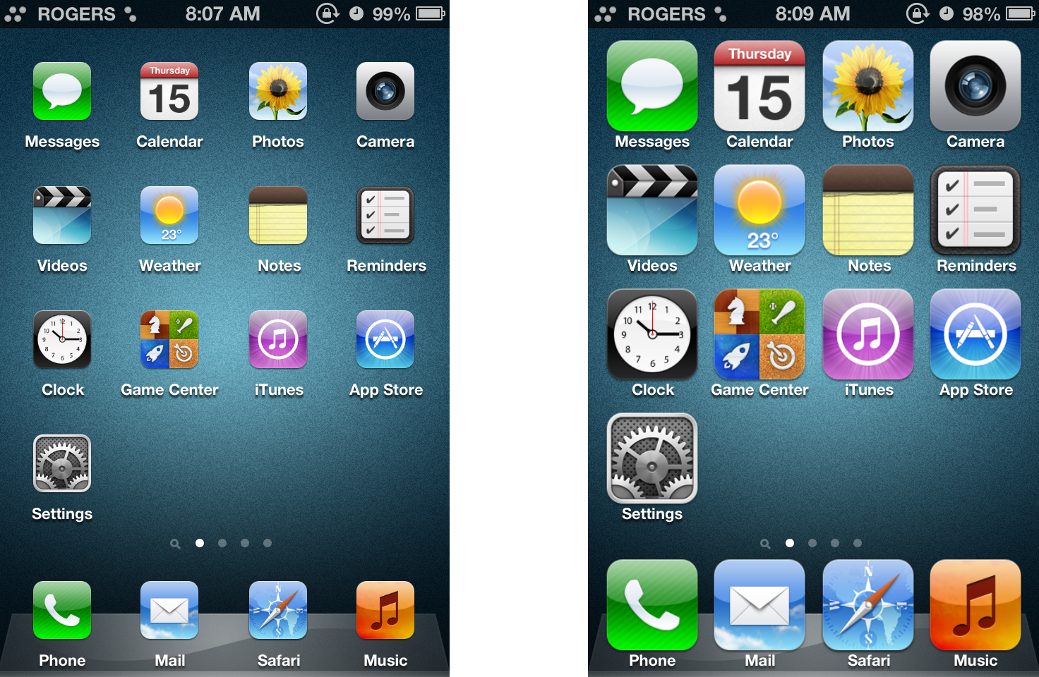 iphone 5 icons at top of screen ultra
