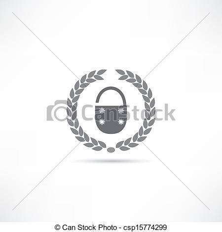 Lock Line Drawing Clip