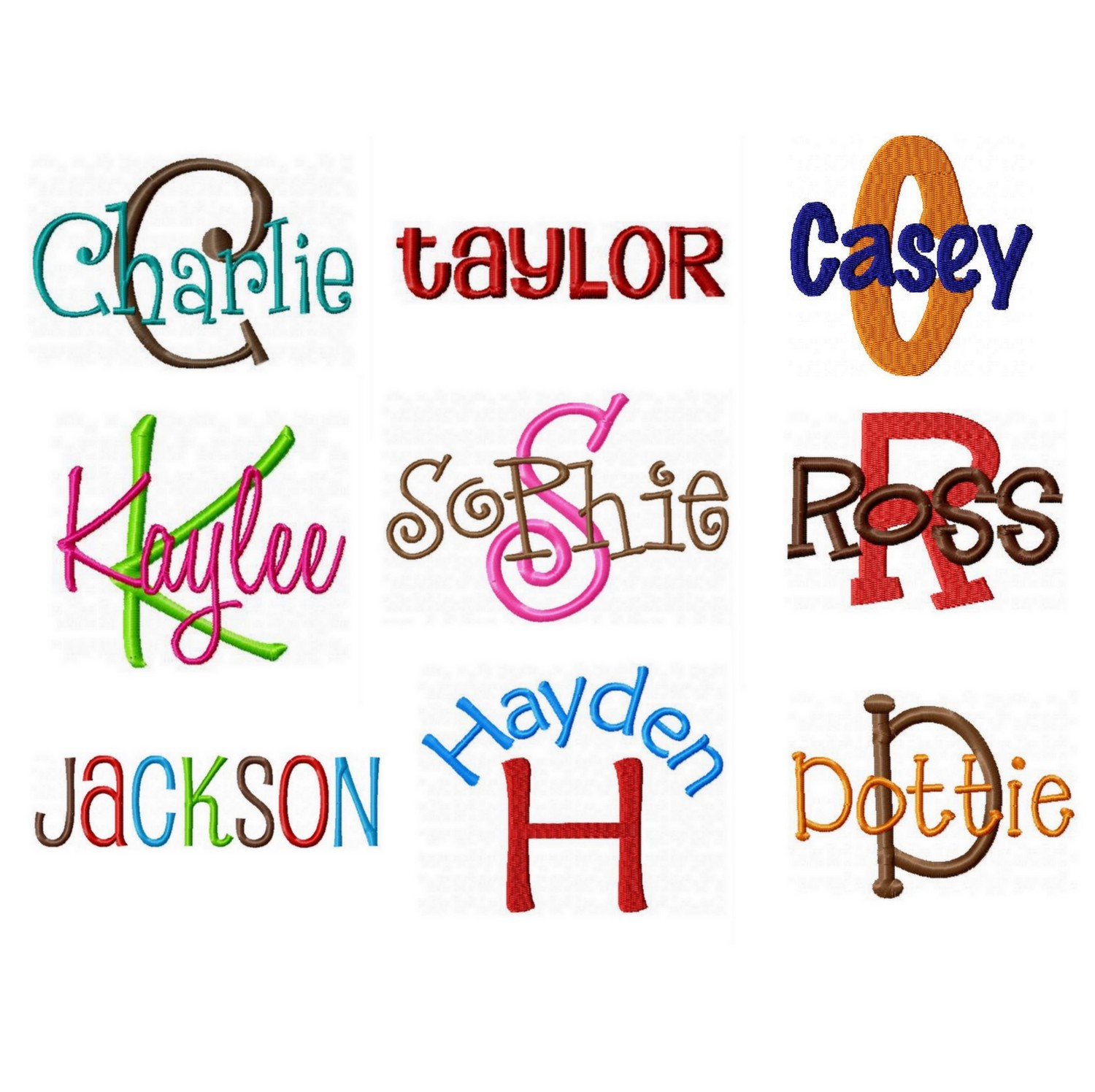 Kaylee embroidery font images machine
