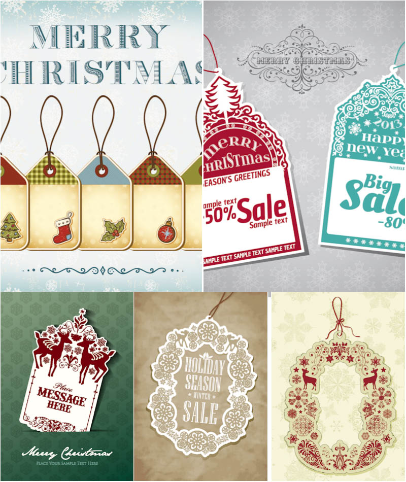 10 Free Vintage Christmas Vector Designs Images