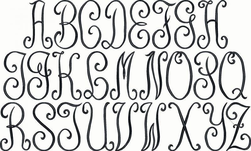 Monogram Embroidery Font Alphabet