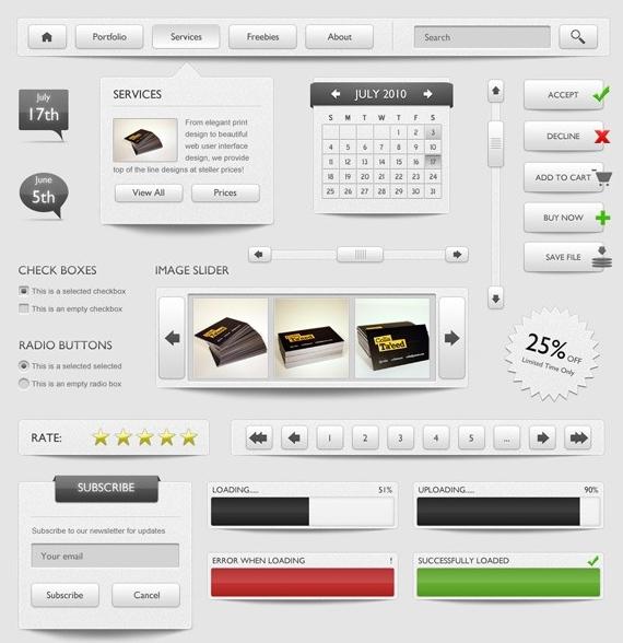 PSD UI Web Design Elements