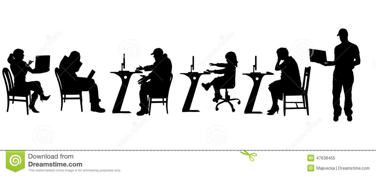 Silhouette Person On Computer