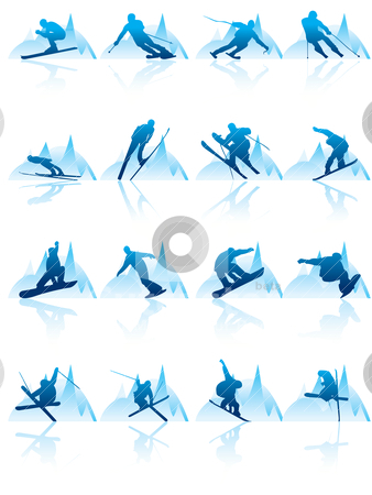 Ski and Snowboard Icon Vector