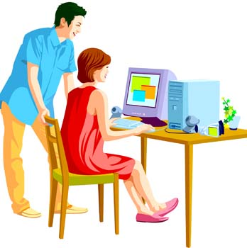 Vector Person On Computer