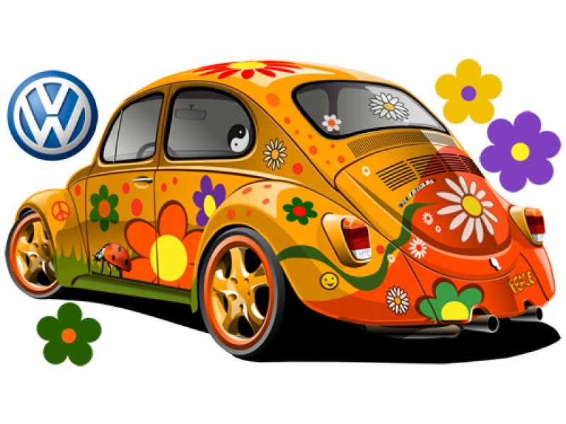 15 VW Beetle Decals Graphics Images - VW Beetle Decals, VW Beetle with Flower Decals Stickers ...