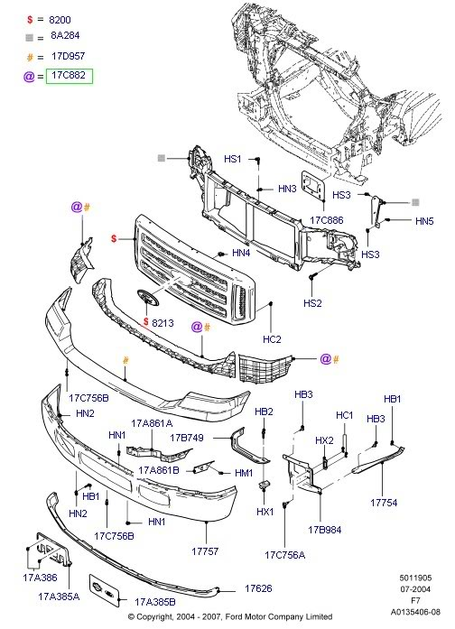 Ford F Front Bumper Parts Diagram