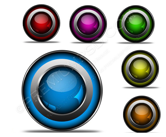 3D Glossy Buttons PSD