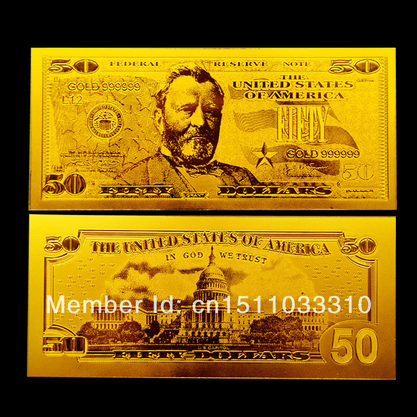 50 Dollar Gold Banknote Bill