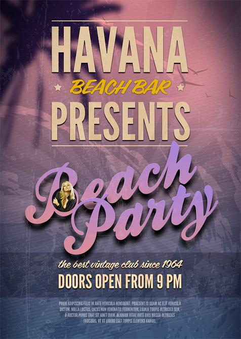 Beach Party PSD Flyer Template Free