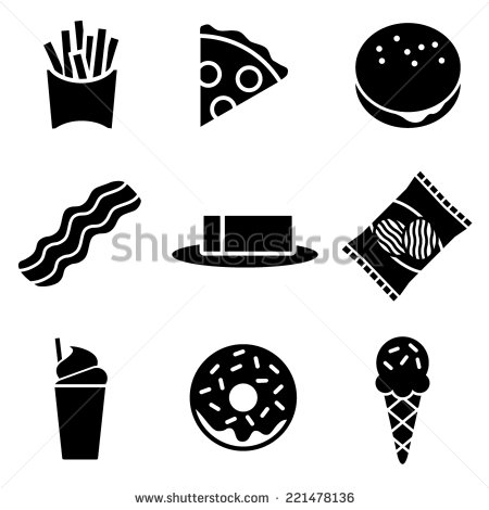 Black and White Food Icon Vector