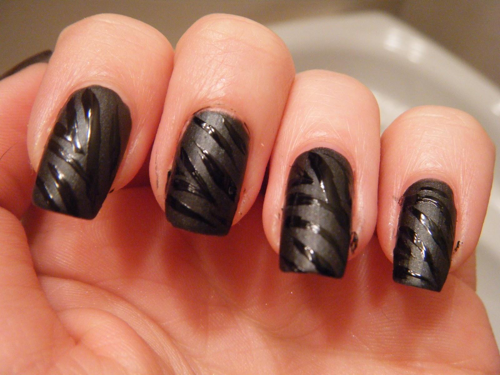 Black Matte Nail Polish Designs