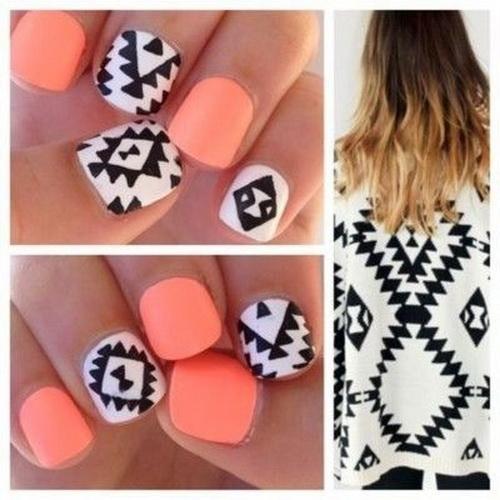 Black White Tribal Nails Designs