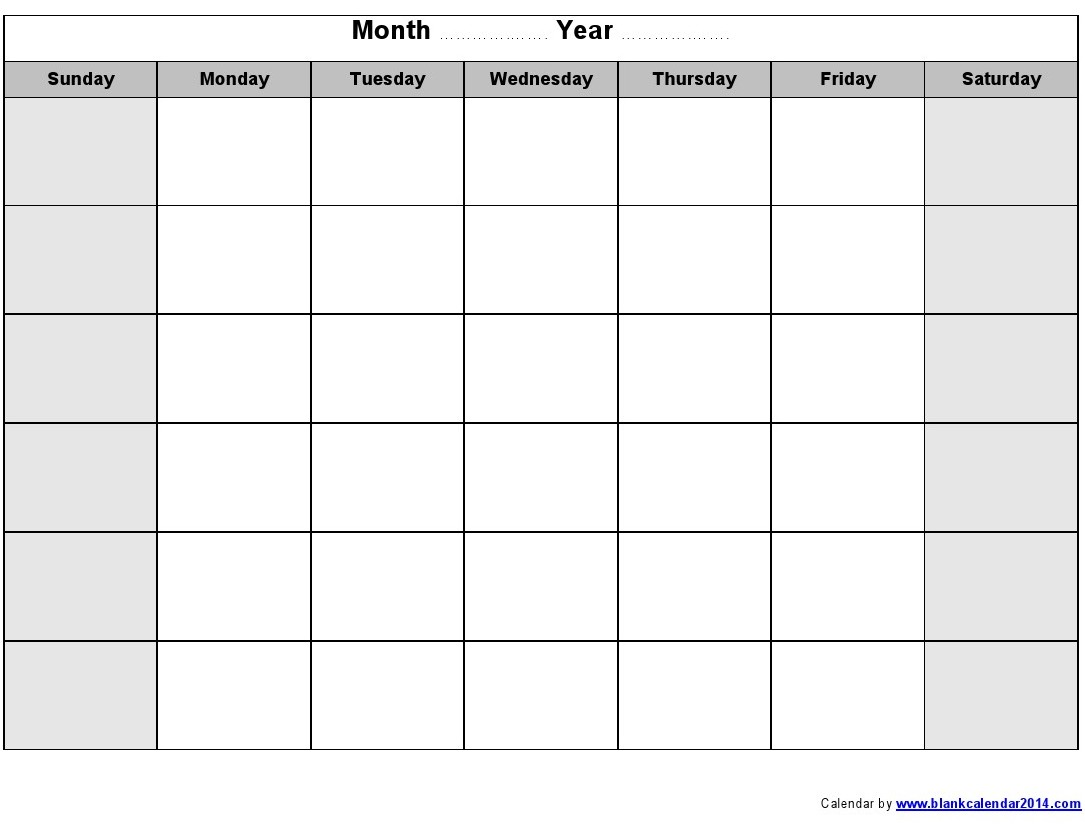 16 Blank Month Calendar Template Images Blank Monthly Calendar