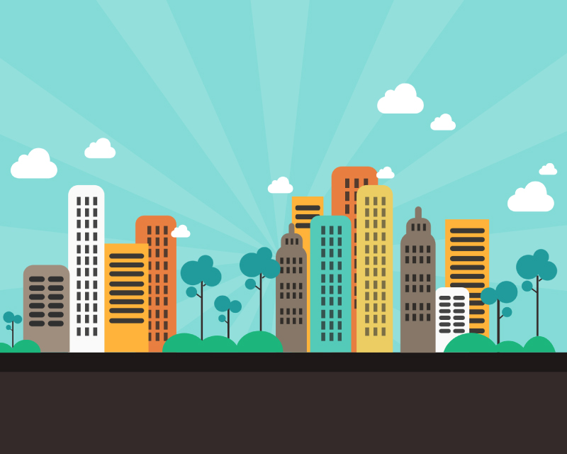 8 Cartoon City Vector Images