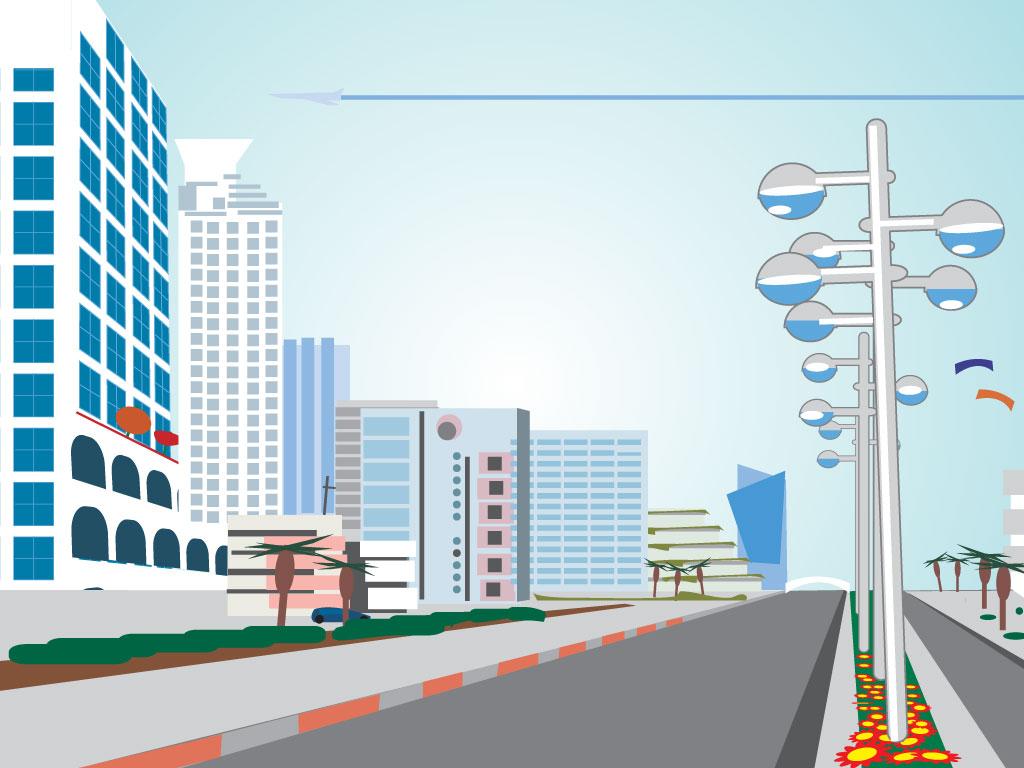 Cartoon City Scene
