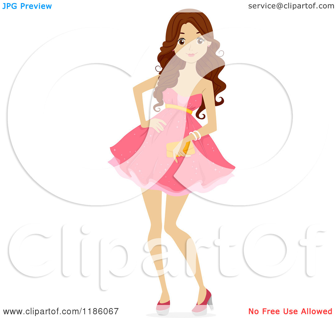 Cartoon Girl Wearing Pink Dress