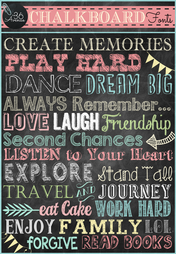 14 Fonts Free Chalkboard Printable Images