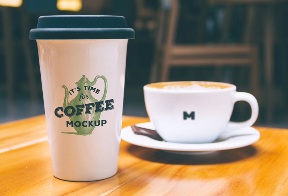 10 Coffee Shop Laptop PSD Mockup Images