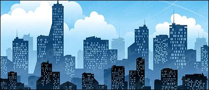 Comic Book City Building Cartoon