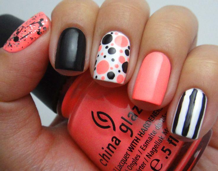 Coral Black White Nails