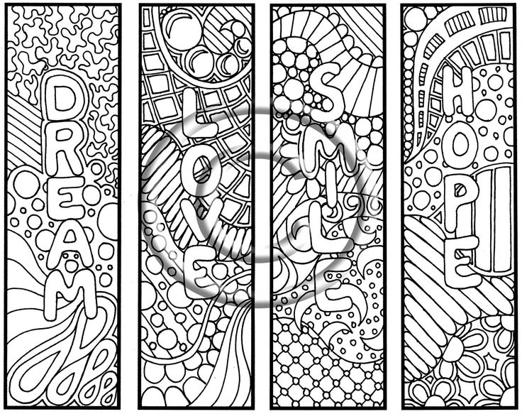 Doodle Coloring Pages Bookmarks