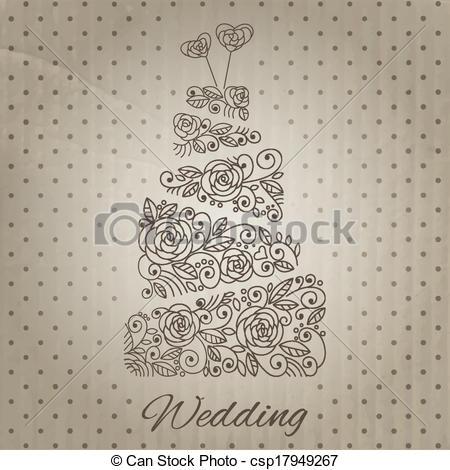 Elegant Wedding Cake Vector