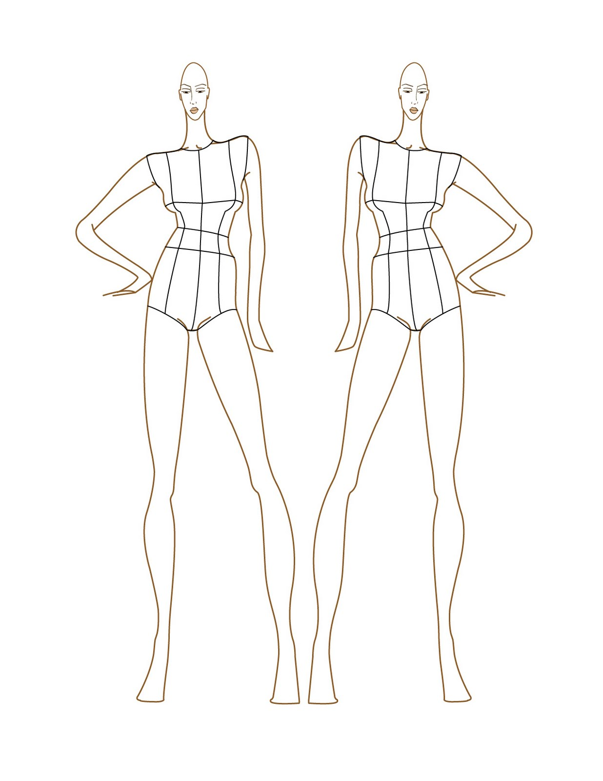 Fashion Design Sketch Figure Templates
