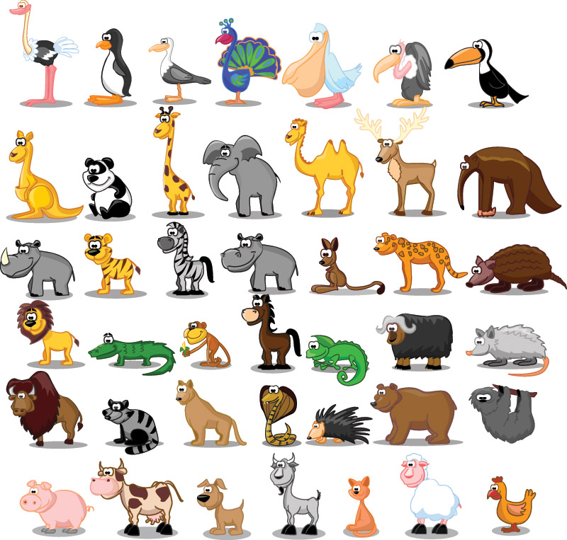 10 Free Vector Cartoon Animals Images