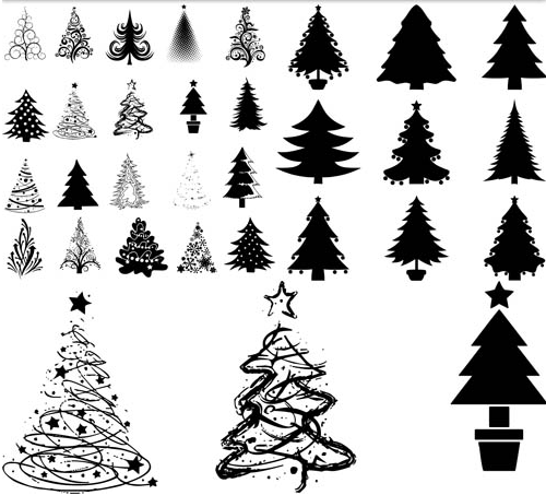 6 Christmas Tree Silhouette Vector Images - Pine Tree ...