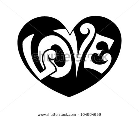 Love Hearts Clip Art Black and White