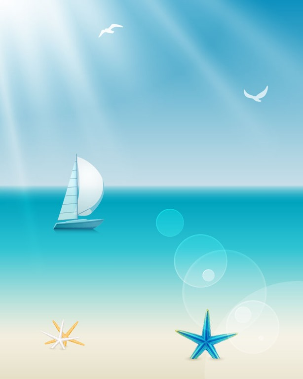 Ocean Beach Summer Vector Graphics