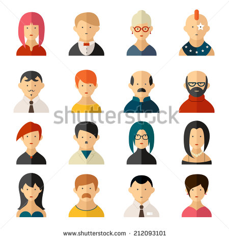 Old Man Images Women Different Color Icon