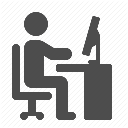 12 Desk Worker Icon Images - Silhouette Person at Desk Icon, Office Desk Icons Wallpaper Desktop ...