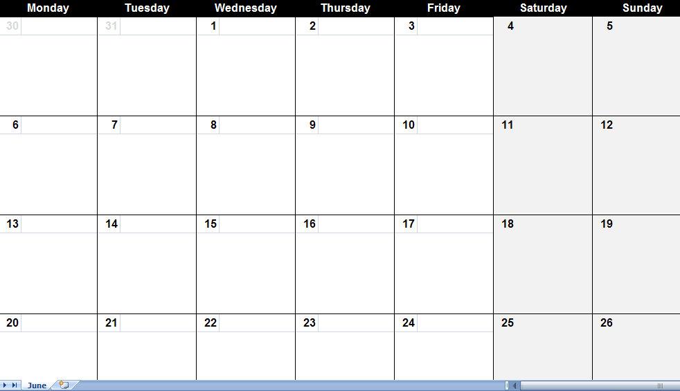 Monthly calendar 2014 template