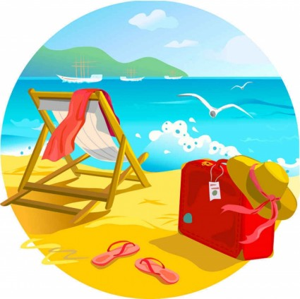 Summer Beach Scenes Clip Art Free
