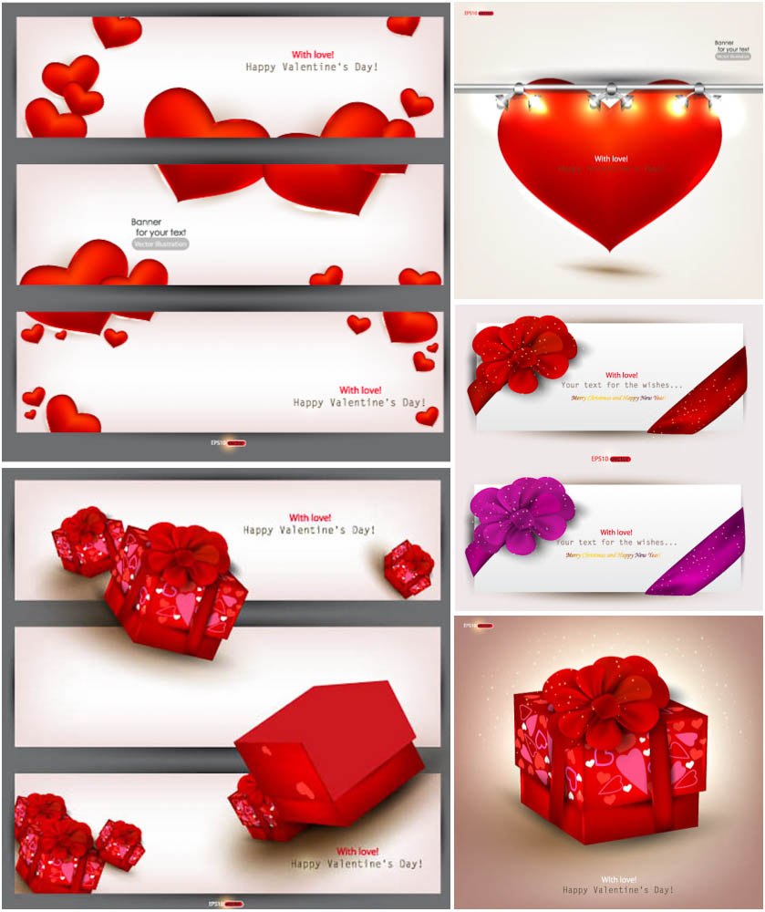 Valentine Day Cards and Banners Vector