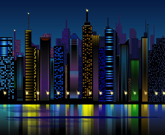 Vector City Buildings at Night
