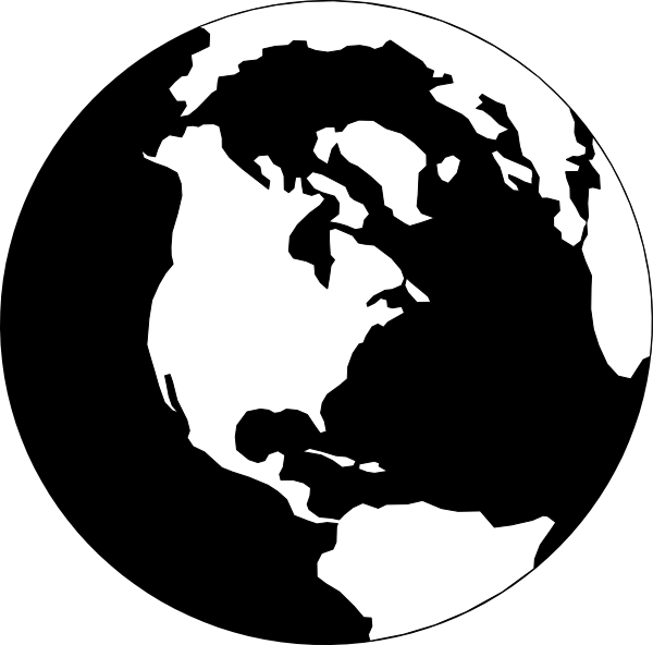 Vector Earth Black and White Clip Art