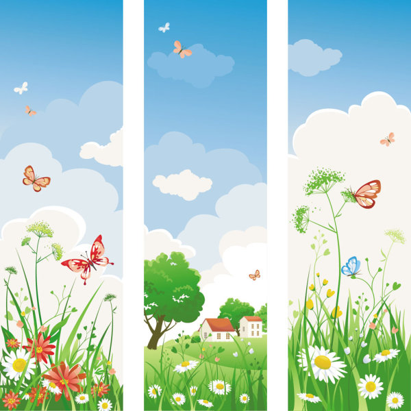 9 Spring Flowers Banner Graphic Images