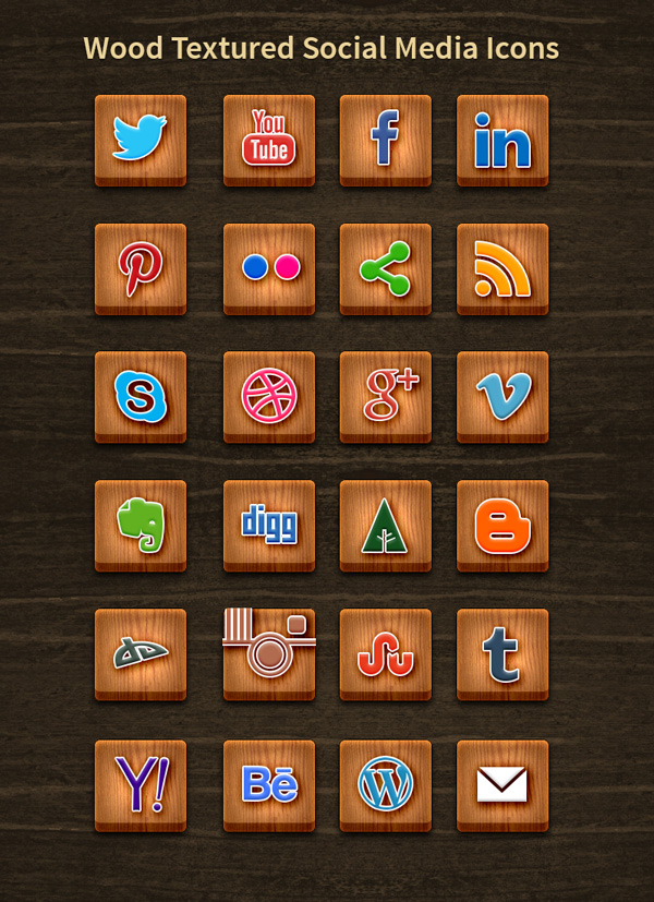13 Wooden Social Media Icons Images