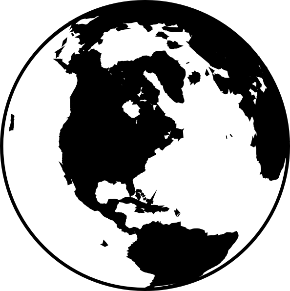 World Map Black And White Clip Art