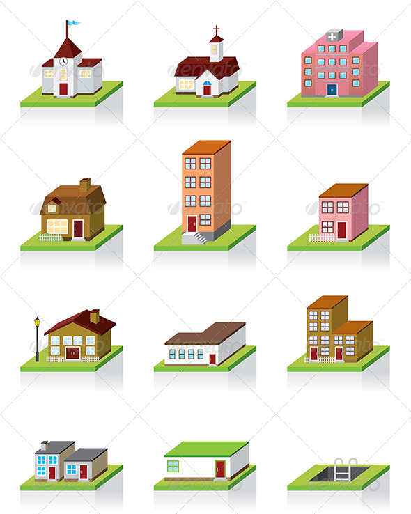 12 3D Office Building Icon Images