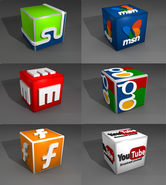 18 Social Media Icons 3D Images