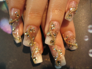 Acrylic Nail Designs with Gold