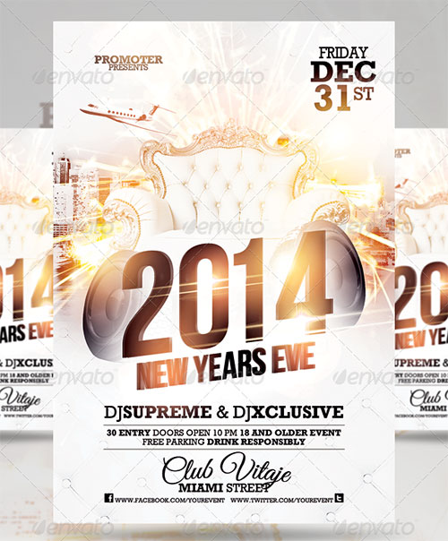 All White Party Flyer PSD Template