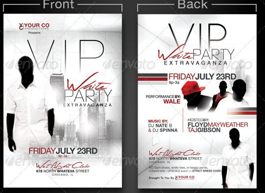 All White Party Flyer Templates