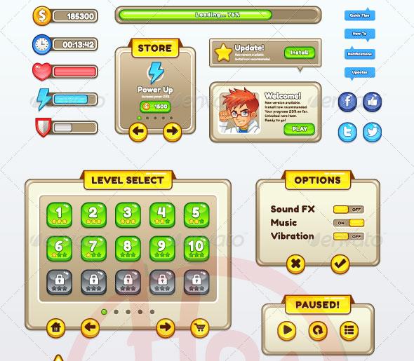 8 Game UI PSD Images - Mobile Game UI, Cartoon Mobile Game