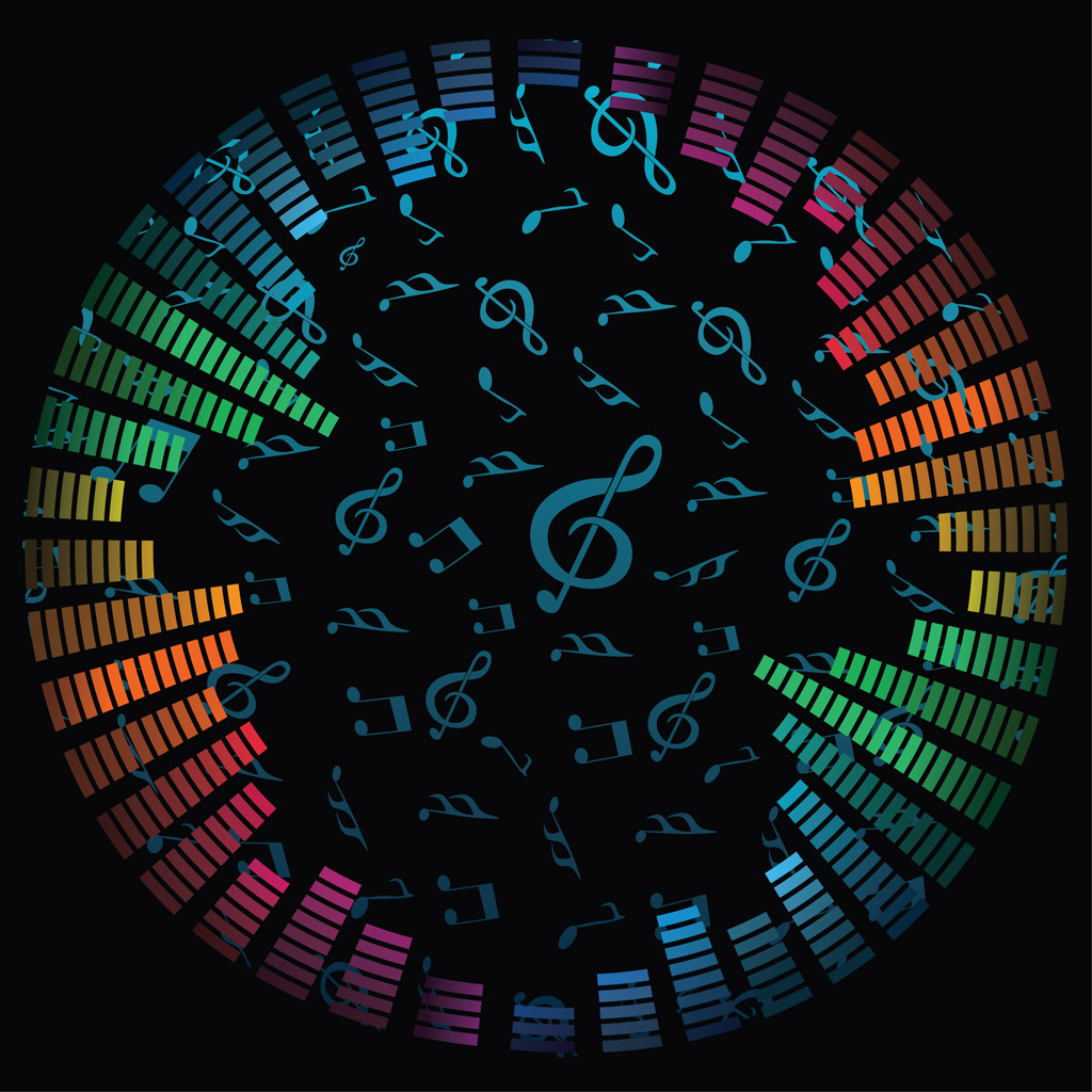 12 Vector Music Notes On Black Background Images
